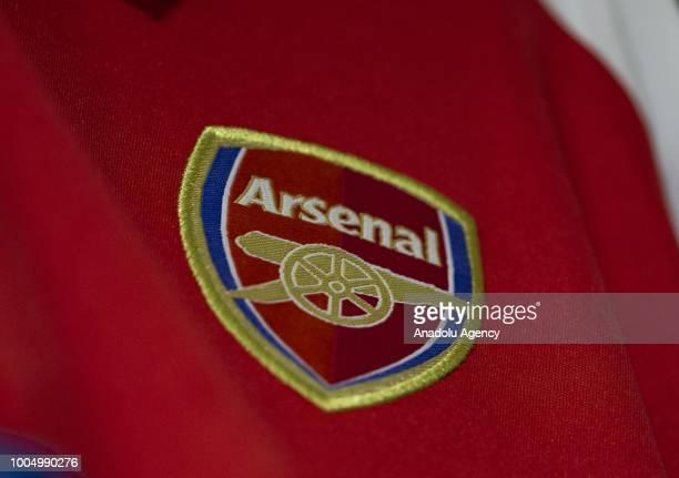 Logo of Arsenal Football Club is seen in Ankara Turkey on July 25 2018
