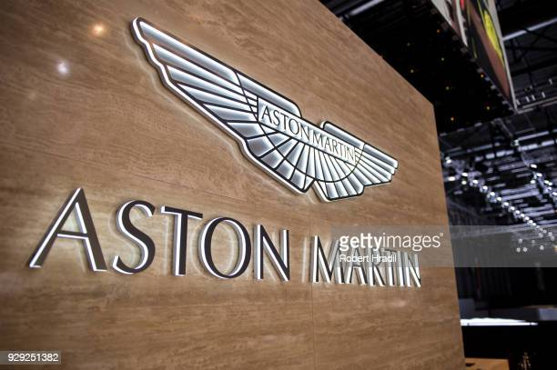 Logo of Aston Martin at the 88th Geneva International Motor Show on March 7 2018 in Geneva Switzerland Global automakers are converging on the show...