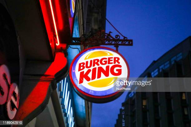 Logo of Burger King is pictured in the street of London, United Kingdom, on 11 December, 2019.