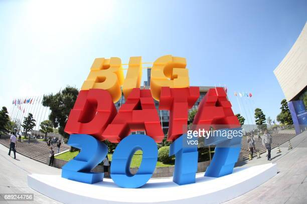 A logo of China International Big Data Expo 2017 is pictured on May 27 2017 in Guiyang Guizhou Province of China China International Big Data Expo...