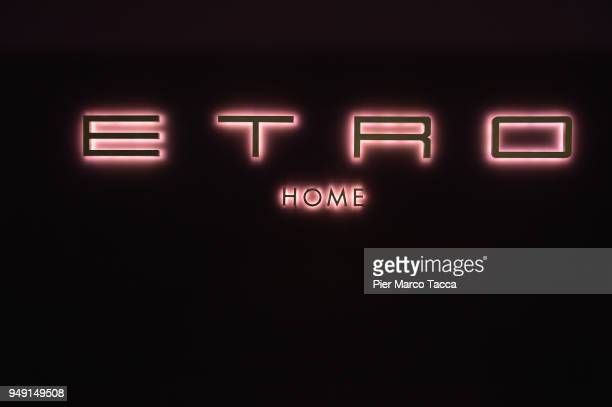 Logo of Etro Home is seen at Salone Del Mobile during Milan Design Week at Fiera Milano Rho on April 20 2018 in Milan Italy