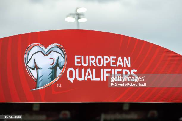 Logo of European Qualifiers during the UEFA Euro 2020 qualifier match between Switzerland and Gibraltar on September 8, 2019 at Stade de Tourbillon...