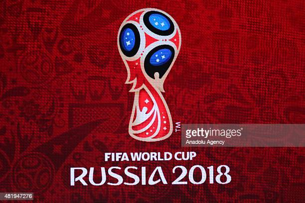 Logo of FIFA World Cup Russia 2018 in the Draw Hall during the preliminary draw for the 2018 World Cup qualifiers at the Konstantin Palace in Saint...