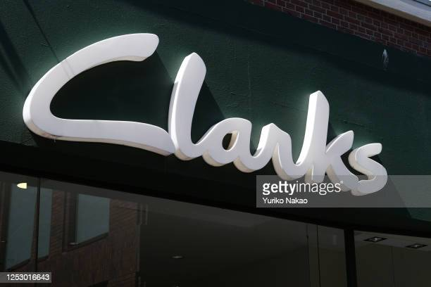 Logo of footwear retailer Clarks is pictured outside its store in the Netherlands, on June 24, 2020 in The Hague, Netherlands.