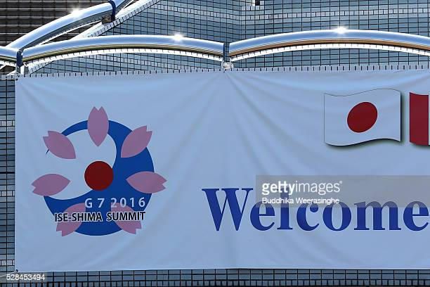 A logo of G7 IseShima summit displayed outside the international media center building to be used during the IseShima Summit on May 5 2016 in Ise...
