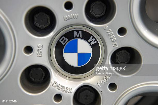 A logo of German automaker BMW in seen on a rim during the celebration marking the 100th anniversary of BMW on March 7 2016 in Munich Germany BMW...