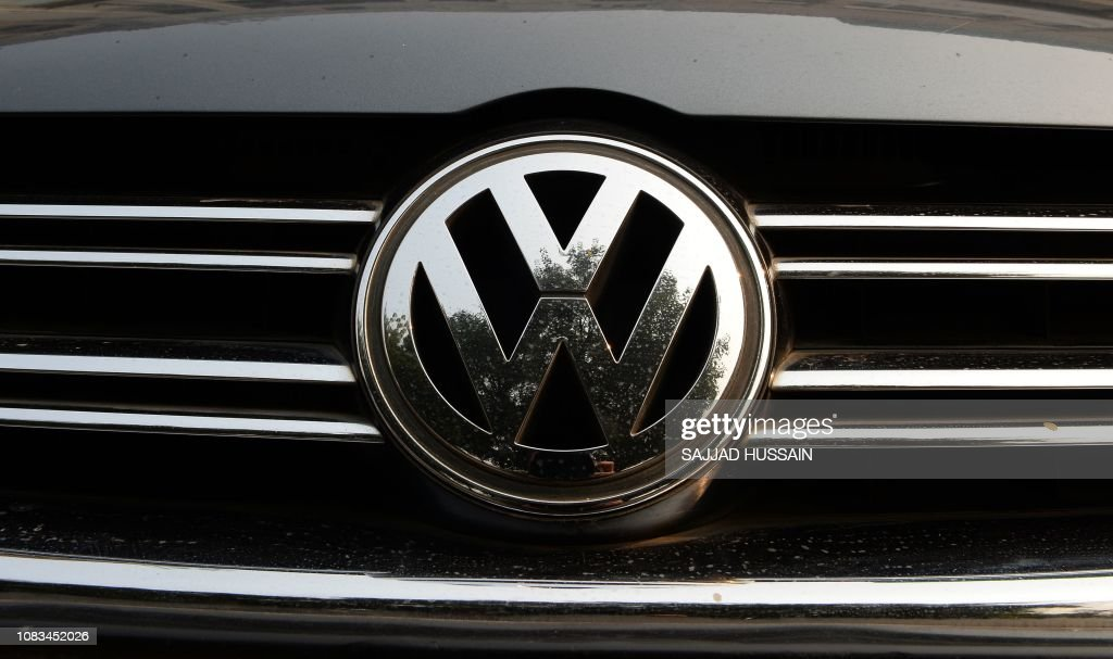 A logo of German automaker Volkswagen is pictured in New