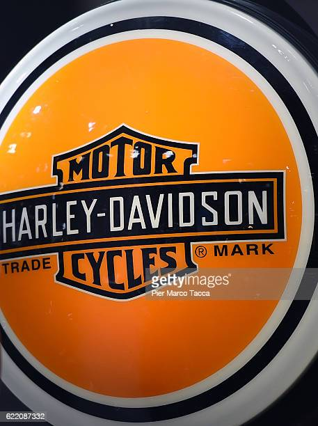 A logo of Harley Davidson is displayed at EICMA 2016 74th International Motorcycle Exhibition on November 9 2016 in Milan Italy EICMA 2016 opens to...