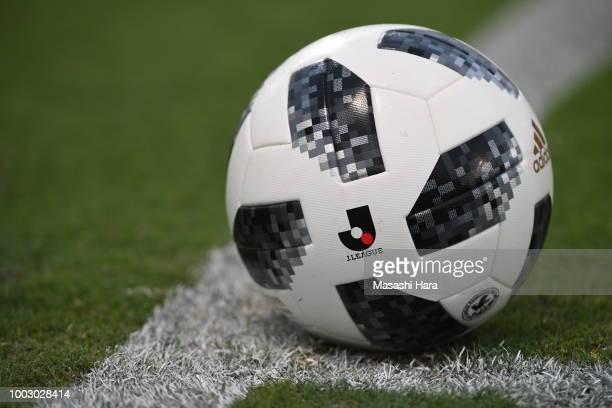 Logo of JLeague is printed on Adidas Telstar on the pitch during the JLeague J2 match between Yokohama FC and FC Gifu at Nippatsu Mitsuzawa Stadium...