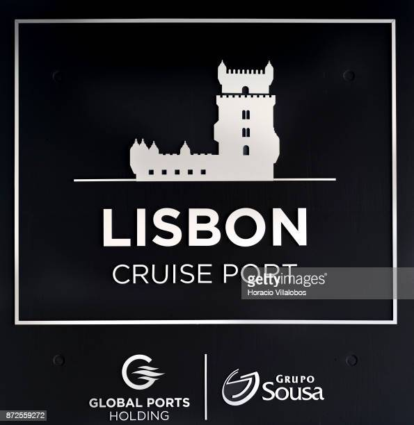 Logo of 'Lisbon Cruise Port' the new cruise terminal on November 10 2010 in Lisbon Portugal The new terminal designed by Portuguese architect Joao...