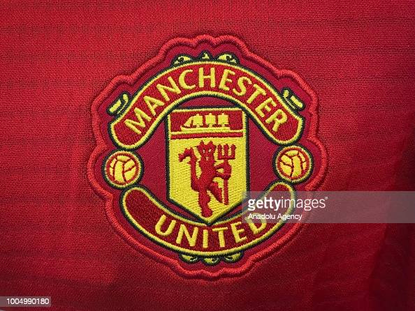 Logo of Manchester United Football Club is seen in Ankara ...