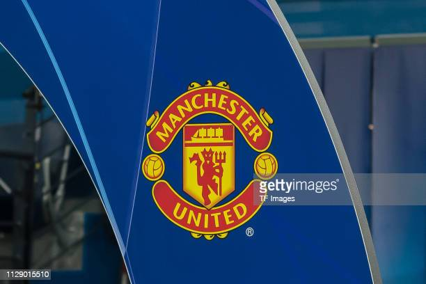 Logo of Manschester United is seen prior to the UEFA Champions League Round of 16 Second Leg match between Paris SaintGermain and Manchester United...