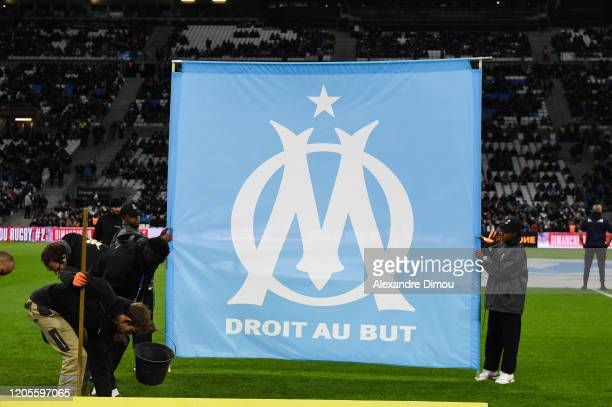 Logo of Marseille during the Ligue 1 match between Marseille and Amiens at Stade Velodrome on March 6, 2020 in Marseille, France.