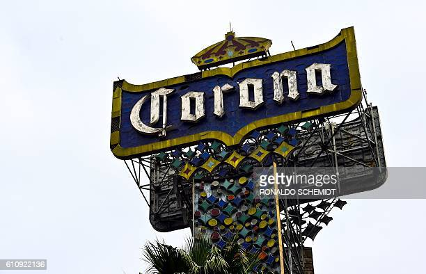 A logo of Mexican beer Corona is seen in Mexico city on September 28 2016 BelgianBrazilian brewer AB InBev savoured its status as the global leader...