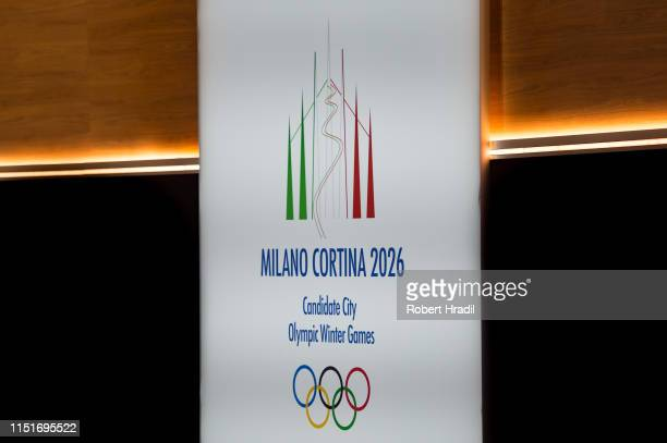 Logo of Milano Cortina 2026 is being displayed during IOC Announcement at SwissTech Convention Center on June 24 2019 in Lausanne Switzerland