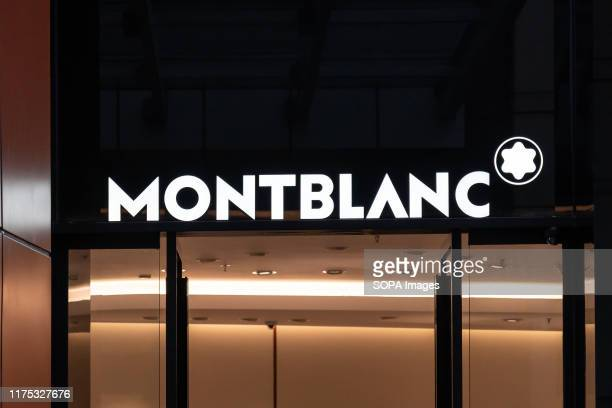 Logo of Montblanc, a German manufacturer of luxury writing instruments, watches, jewellery, eye wear and leather goods, seen in Shenzhen.