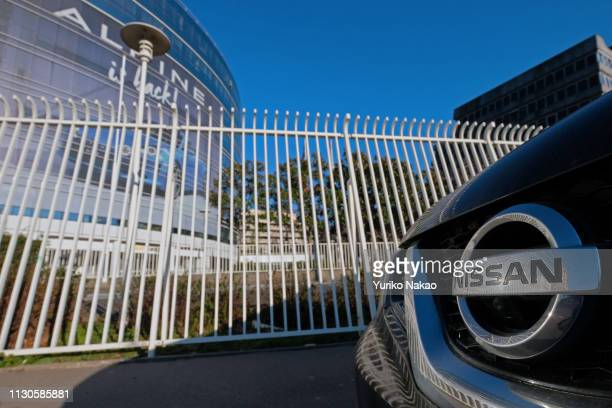 Logo of Nissan Motor Co. Is pictured in front of Groupe Renault headquarters building on February 17, 2019 in Boulogne-Billancourt, near Paris,...