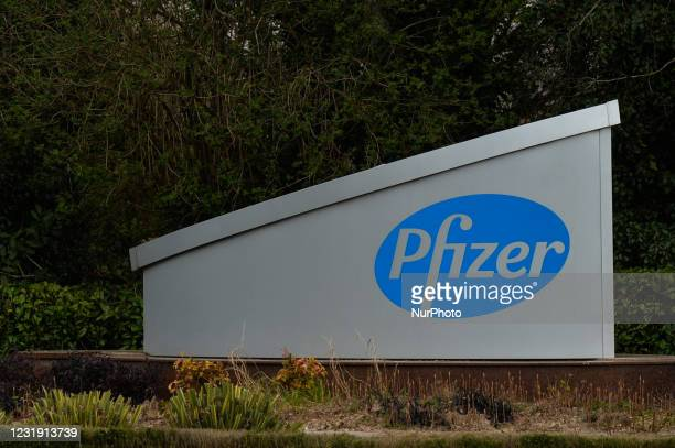Logo of Pfizer pharmaceutical company seen in Newbridge. On Wednesday, March 24 in Newbridge, County Kildare, Ireland.