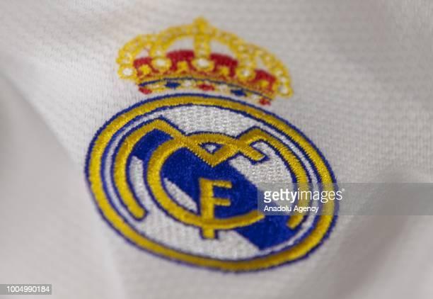 Logo of Real Madrid Football Club is seen in Ankara Turkey on July 25 2018