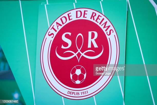 Logo of Reims during the Ligue 1 match between AS SaintEtienne and Stade Reims at Stade GeoffroyGuichard on February 23 2020 in SaintEtienne France