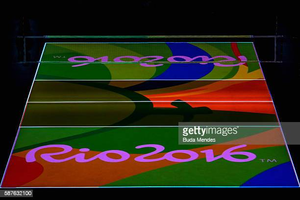 Logo of Rio2016 appears in court before the men's qualifying volleyball match between the United States and Italy on Day 4 of the Rio 2016 Olympic...