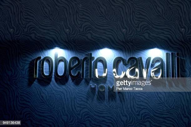 Logo of Roberto Cavalli Home is seen at Salone Del Mobile during Milan Design Week at Fiera Milano Rho on April 20 2018 in Milan Italy