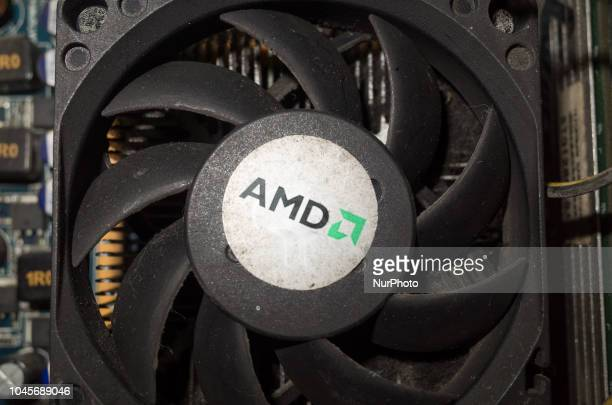 A logo of semiconductor company Advanced Micro Devices Inc is seen on a computer heatsink in Manila Philippines on Thursday October 4 2018 Picture...
