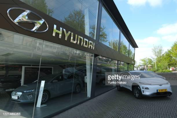 Logo of South-Korean car manufacturer Hyundai is pictured outside its dealer on April 26, 2020 in Katwijk, Netherlands.