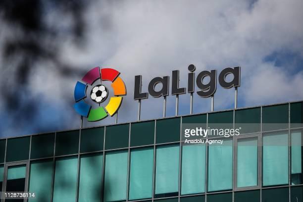 Logo of Spanish football league La Liga is seen in Madrid Spain on 05 2019