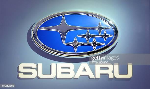 Logo of Subaru at the North American International Auto Show January 12 2009 in Detroit Michigan AFP PHOTO/Stan HONDA