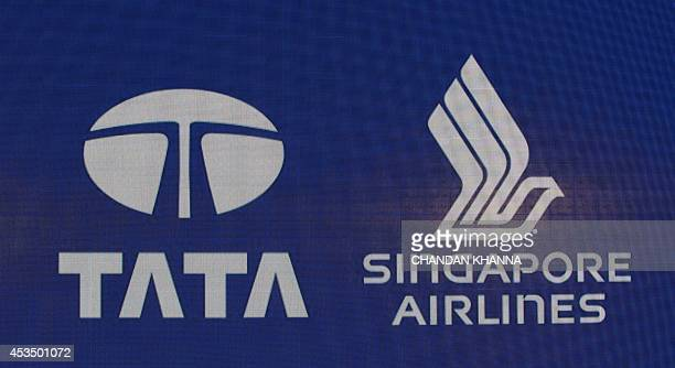 Logo of TATA and Singapore Airlines on view at a press conference during theLaunch of the new airline Vistara in New Delhi on August 11 2014 AFP...