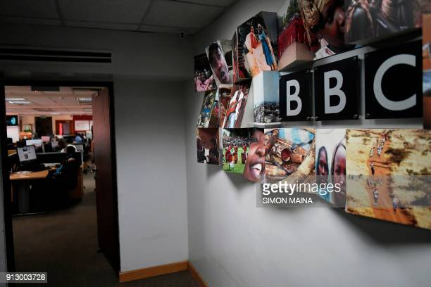 A logo of the British Broadcasting Corporation the British public service broadcaster is pictured at the East African Bureau on February 1 2018...