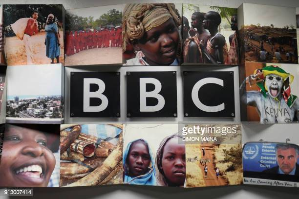 Logo of the British Broadcasting Corporation , the British public service broadcaster, is pictured at the East African Bureau on February 1, 2018...