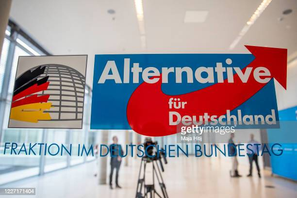 Logo of the Bundestag faction of the rightwing Alternative for Germany political party stands at the entrance to the AfD Bundestag faction at the...
