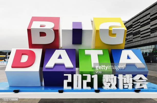 Logo of the China International Big Data Industry Expo 2021 is seen outside Guiyang International Conference and Exhibition Center during the China...