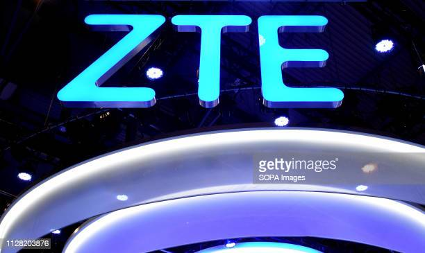 L´HOSPITALET CATALONIA SPAIN Logo of the Chinese brand ZTE seen during the Mobile World Congress 2019 in Barcelona