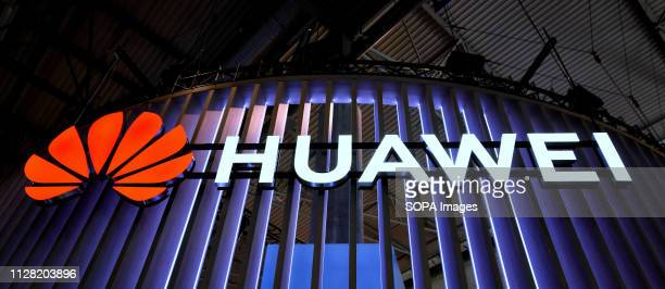 L´HOSPITALET CATALONIA SPAIN Logo of the Chinese Huawei brand seen during the Mobile World Congress 2019 in Barcelona