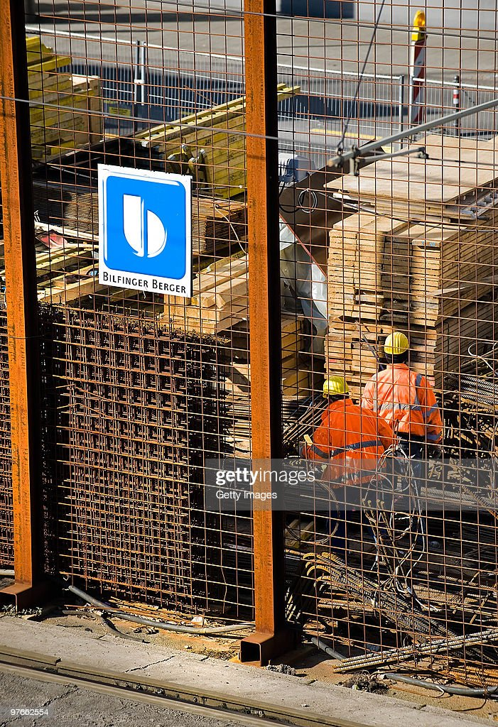 A logo of the construction company Bilfinger Berger hangs at a