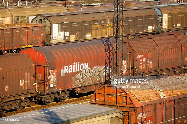 Logo of the DB Railion Logistics on a box wagon at the freight village in Dresden Friedrichstadt on March 11 in Dresden Germany