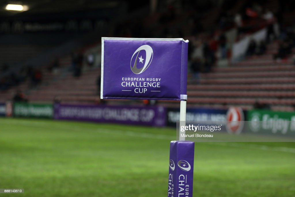 Logo of the European Rugby Challenge Cup during the European Challenge Cup match between Toulouse and Lyon on December 7, 2017 in Toulouse, France.