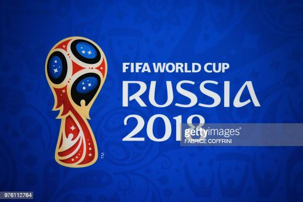 TOPSHOT A logo of the FIFA World Cup is seen at the Samara Arena in Samara on June 16 2018 on the eve of the Russia 2018 World Cup Group E football...