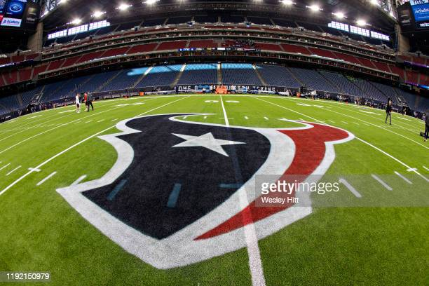 Logo of the Houston Texans painted on the field before a game against the New England Patriots at NRG Stadium on December 1 2019 in Houston Texas The...