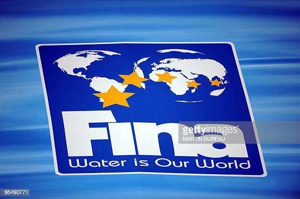 Logo of the is the international governing body of swimming, diving, water polo, synchronized swimming and open water swimming, FINA is displayed...