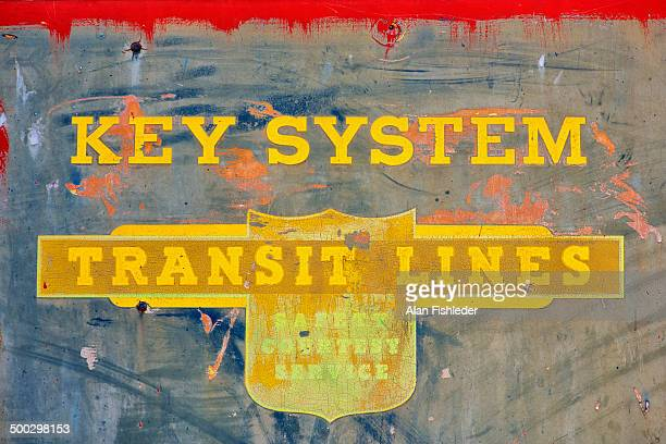 Logo of the Key System remains on the side of an old, inoperable bus. The privately owned mass transit system operated trollies and buses in the East...