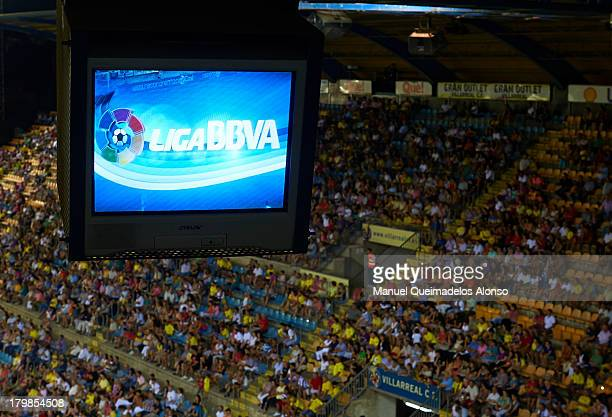 Logo of the Liga BBVA is pictured on the monitors in the press room during the La Liga match between Villarreal CF and Real Valladolid CF at El...