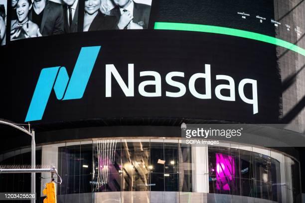 Logo of the Nasdaq Stock Market seen in Midtown Manhattan.