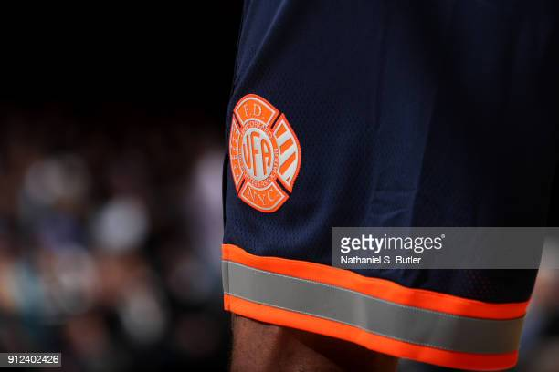 Logo of the New York Knicks shorts during the game against the Brooklyn Nets on January 30 2018 at Madison Square Garden in New York City New York...