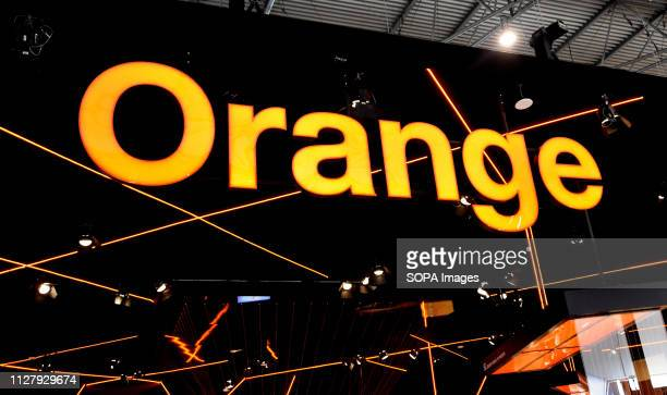 L´HOSPITALET CATALONIA SPAIN Logo of the Orange phone company seen at the Mobile World Congress 2019 in Barcelona
