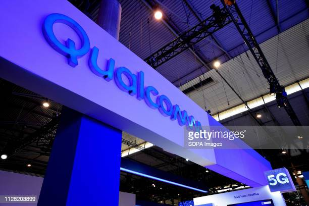 L´HOSPITALET CATALONIA SPAIN Logo of the Qualcomm brand with 5G technology seen during the Mobile World Congress 2019 in Barcelona