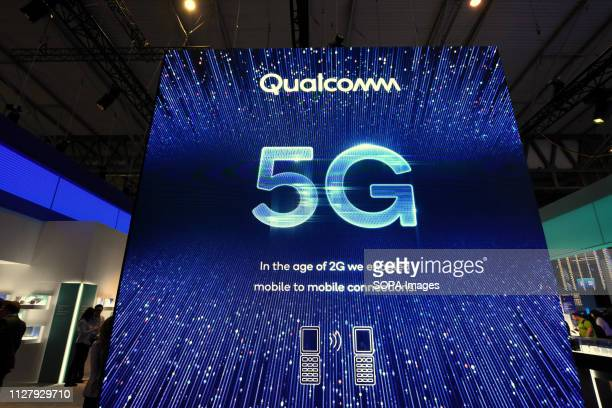 L´HOSPITALET CATALONIA SPAIN Logo of the Qualcomm telephone company pioneer in 5G technology seen at the Mobile World Congress 2019 in Barcelona